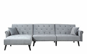 Image Is Loading Velvet Sleeper L Shape Sectional Couch W Reclining
