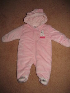 CARTERS-baby-girls-SOFT-FUZZY-PINK-SNOWSUIT-Size-3-months-NWOT