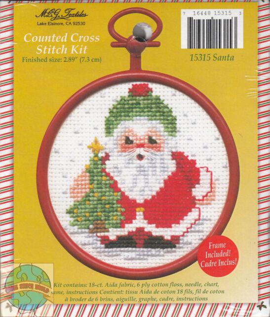 MCG Textiles Mini Counted Cross Stitch Kits Christmas Ornament Framed