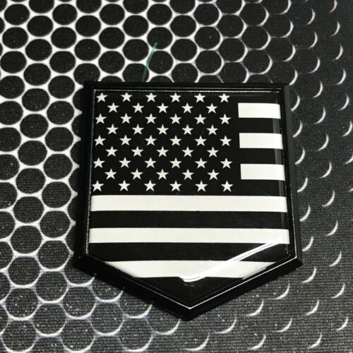 "USA America Flag MONOCHROME Domed BLACK Emblem Car 3D Sticker 2/""x 2.25/"" Merica"