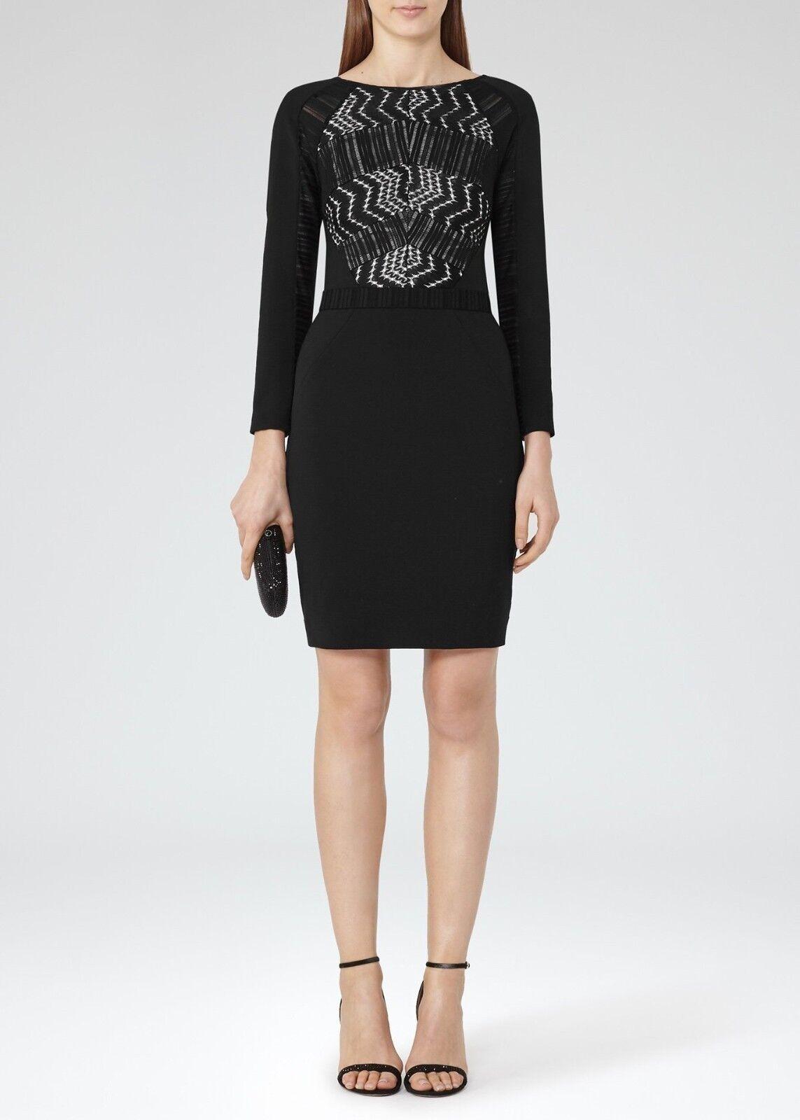REISS Da Donna 'Libby' nero Lace Vestito aderente con inserti-Bnwt-Rrp  -