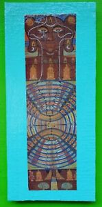 Vintage Mid Century 60s 70s Colorful Funky Buddha India Wall Hanging Art Plaque