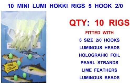 10 MINI LUMI HOKKI RIGS 5 HOOK SIZE 2//0 SEA FISHING COD MACKEREL FEATHER LURES