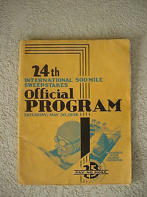 Ospitale 1936 Indy 500 Race Program Molto Raro Originale Antico Auto Ads Louis Meyer Wins