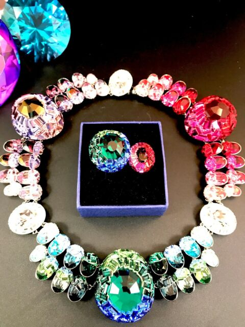 RARE Swarovski Euphory Rainbow Palette 3 Way All-around Necklace Double Ring  Set for sale online  3aa5116a26