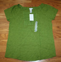 Womens Lizwear Dark Green Embroidered Blouse Henley S/s Shirt Size Small S