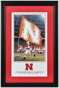 Nebraska Cornhuskers 5-Time Football National Champs 10x18 Framed Legacy Print