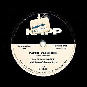 The-CRACKERJACKS-on-1954-Kapp-106-Paper-Valentine-Kiss-Crazy-Baby