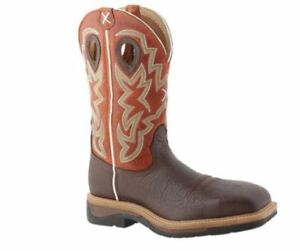 724fcf79c2a Details about Twisted X Men's Brown Shoulder/Orange Lite Cowboy Steel Toe  Work Boot MLCS011