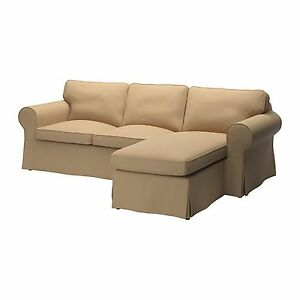 Ikea ektorp slipcover 2 seat loveseat sofa with chaise for Chaise cushion slipcover