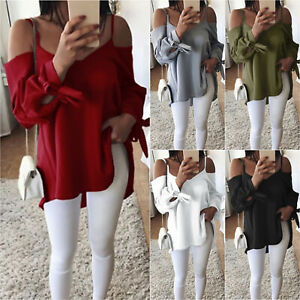 Womens-Cold-Shoulder-T-Shirt-Lady-Summer-Casual-Beach-Tops-Blouse-Long-Sleeve-UK