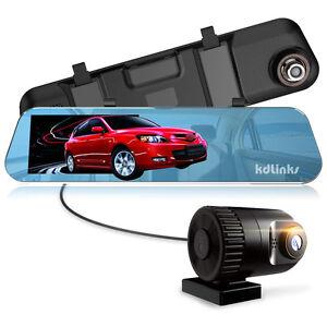KDLINKS-R100-1296P-280-Front-Rear-Rearview-Mirror-Car-Dash-Cam-Camera-5-034-IPS