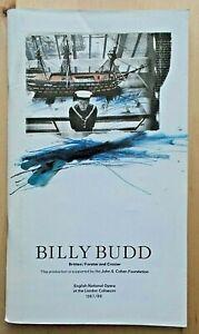 Billy Budd programme English National Opera ENO 1988 Thomas Allen John Connell