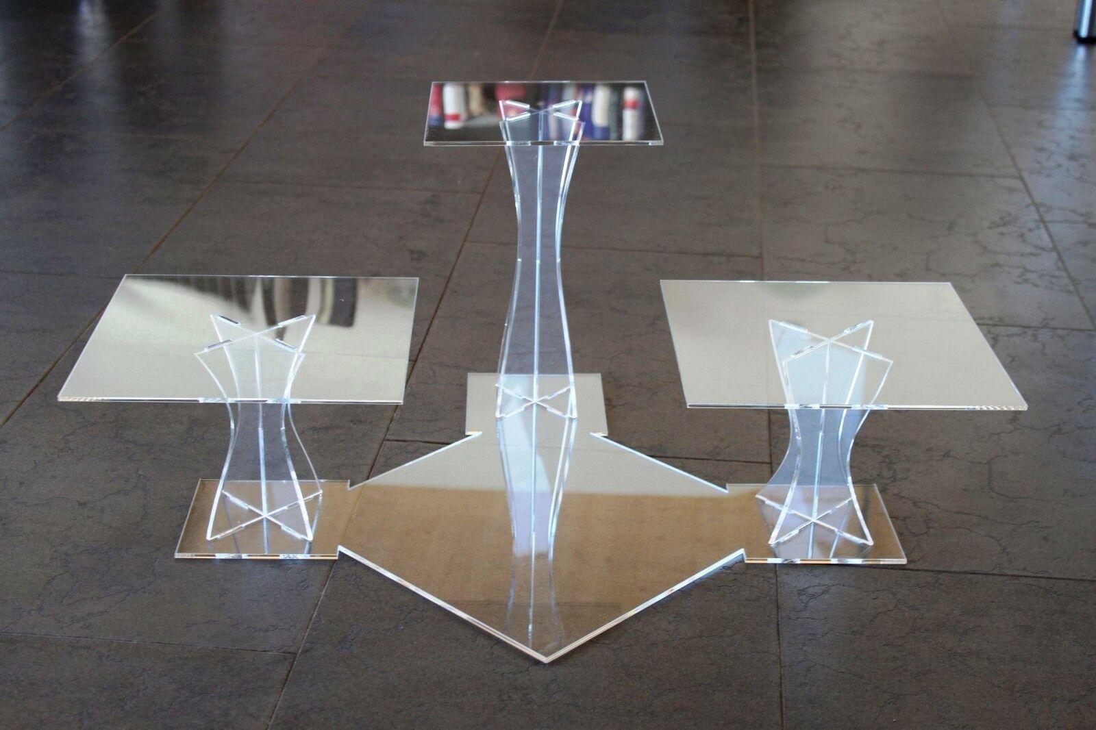 tortenetagere Acrylique etagere mariage 3 étages plexiglas 20x20 25x25 30x30cm