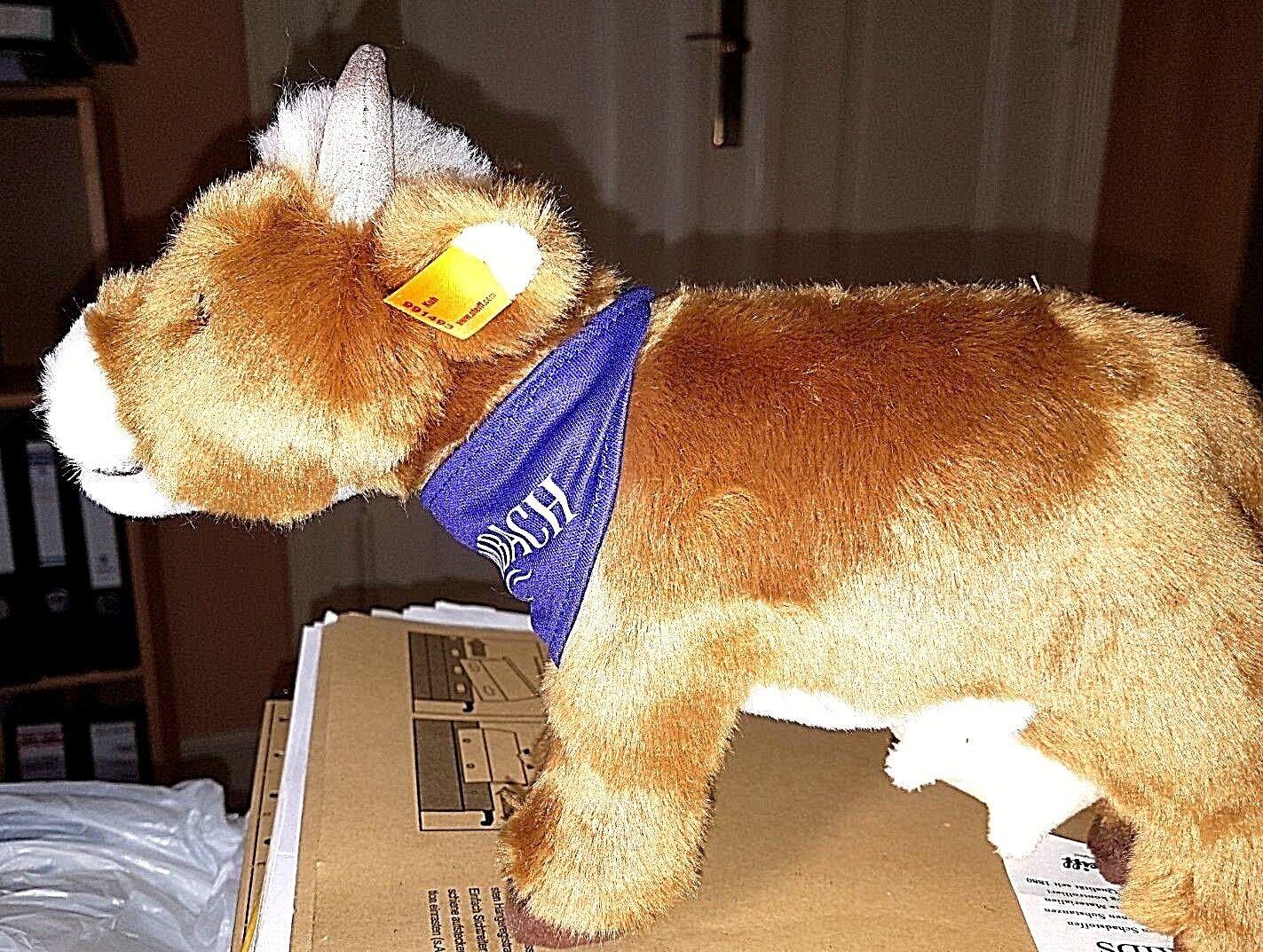 Steiff 991493 - Kuh braun 16 cm hoch 27 cm lang wie NEU + inbespielt für Kulmbac