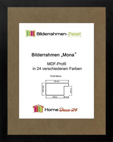 Mona 32,5 x 44 cm Bilderrahmen Homedeco 24 Holzwerkstoff Wahl Farbe Verglasung
