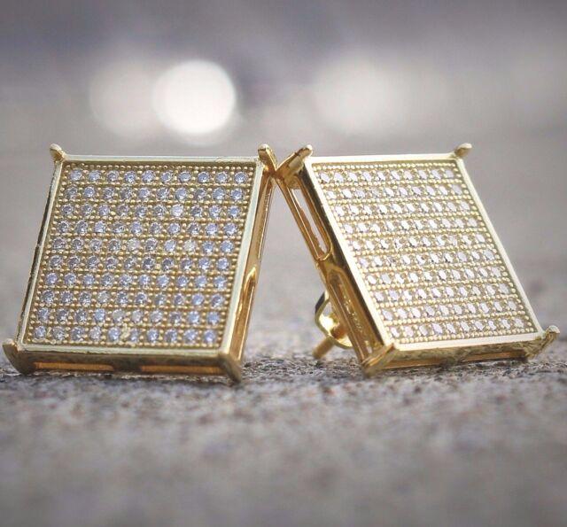 Mens 14k White Gold Finish Real Silver Square Lab Diamond Earrings Studs