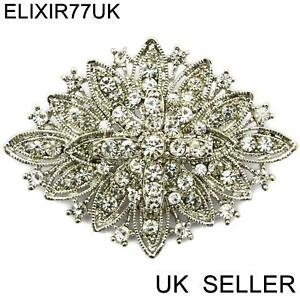 LARGE-SILVER-MODERNIST-BROOCH-PIN-RHINESTONE-DIAMANTE-CRYSTAL-JOB-LOT-BOUQUET-UK