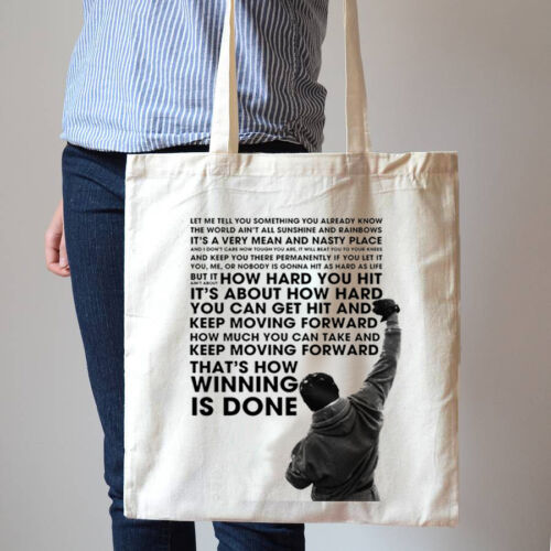 Rocky Balboa Boxing Champ Movie Quote Champion Saying Cotton Canvas Tote Bag 264