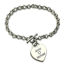 Heart Pendant Personalized Engraved Name Silver Plated T Bar Bracelet USA