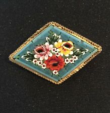 Vintage Italian Micro Mosaic Turquoise Bright Colour Flowers Gold Tone Brooch