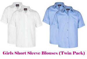Schuluniform-Maedchen-Blusen-Hemden-Zwillings-x2-Packung-Weiss-Sky-Blau-Kurzarm