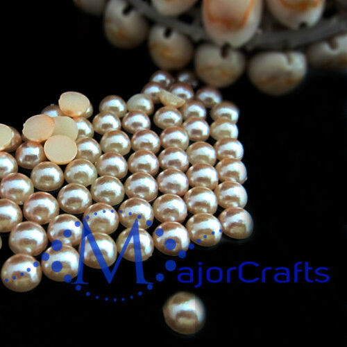 1800pcs Light Brown 1.5mm Flat Back Half Round Resin Pearls Nail Art Gems C24
