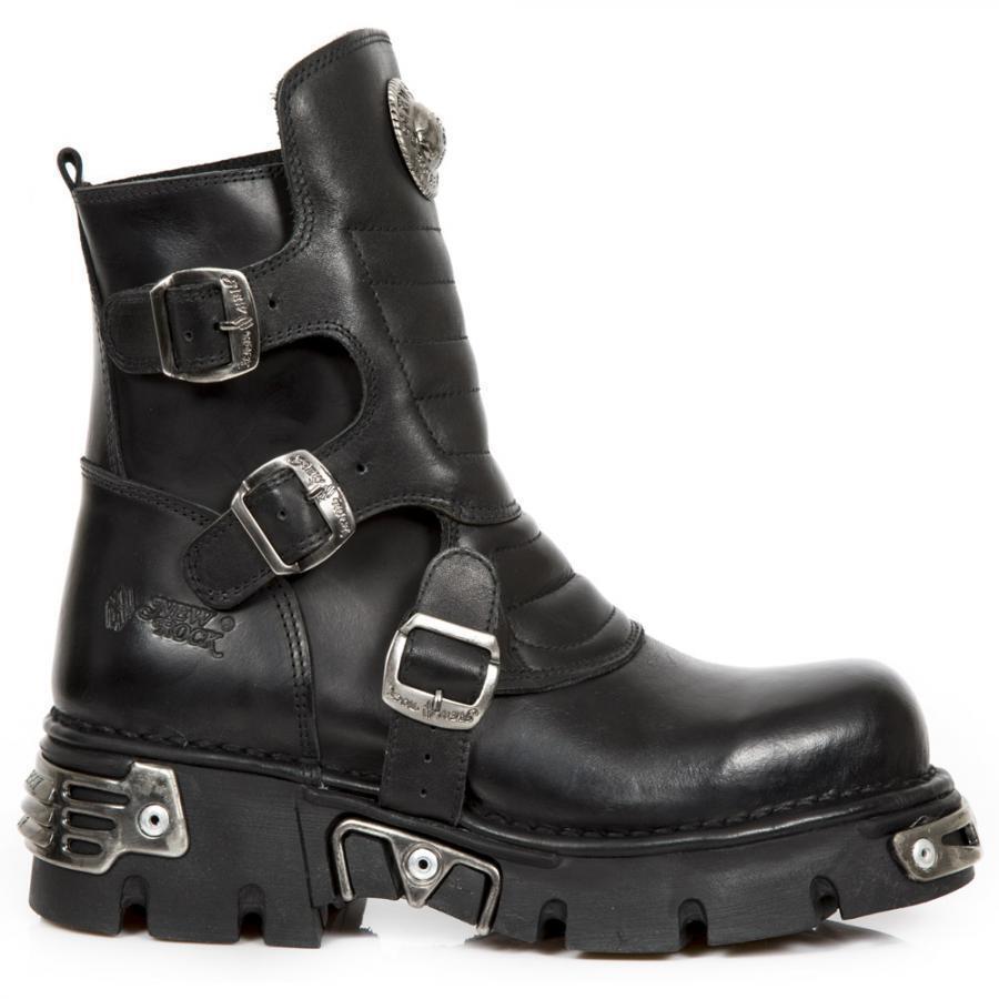 Bota de PIEL NEW ROCK Negro Hebillas Buckle leather boot Unisex