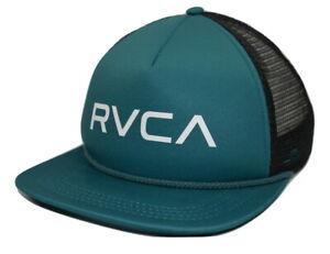 New RVCA Foamy Mens Teal Blue Black Mesh Snapback Trucker Cap Hat