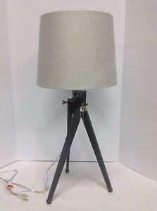 frontgate grandinroad black tripod wood table lamp light fixture natural shade ebay. Black Bedroom Furniture Sets. Home Design Ideas