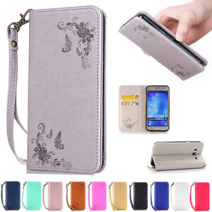 Card-Holder-Leather-Flip-Wallet-Case-Cover-Stand-Floral-For-Samsung-Galaxy-Phone