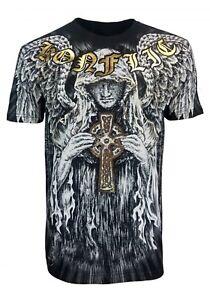 Konflic-Guardian-Angel-Cross-Men-039-s-Fighter-UFC-MMA-Muscle-T-Shirt