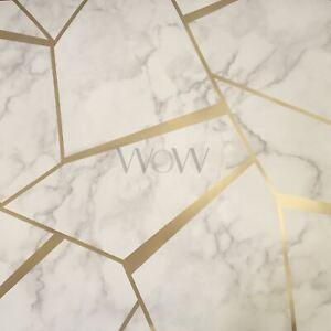 Détails Sur Fractal Géométrique Marbre Papier Peint Doré Blanc Fine Decor Fd42265