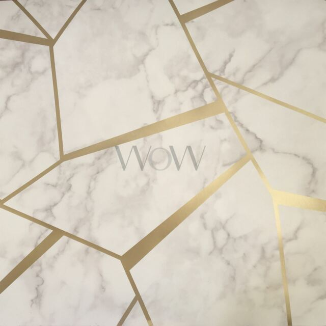 Fractal Geometric Marble Wallpaper Gold White Fine Decor Fd42265