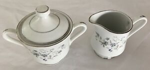 Acsons-Chantilly-Diamond-China-Creamer-Sugar-amp-Lid-Marked-3-Pieces