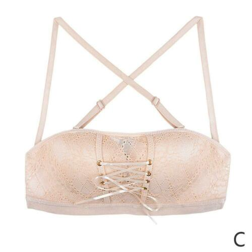 Women Lace Strapless Invisible Bra Push Up Bra Backless Non-Slip With Drawstring