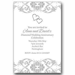 Details About 10 Personalised Party Invitations 60th Diamond Wedding Anniversary M131