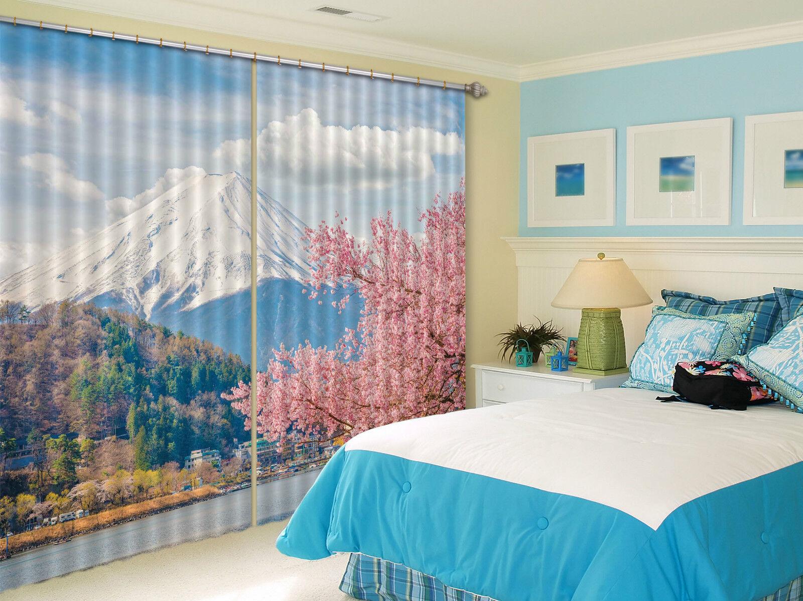 3D Monte Fuji 8 Cortinas de impresión de cortina de foto Blockout Tela Cortinas Ventana CA