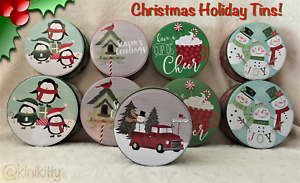 ☃️ Christmas Tins Sets of 2 New Holiday 5 designs! Penguins Snowmen Save on 2+🐧