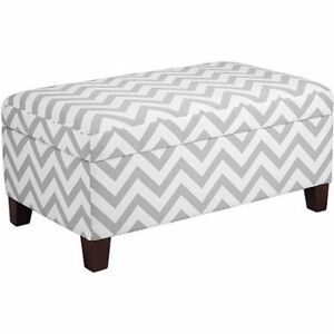 Prime Details About Dorel Living Kinsley Chevron Storage Ottoman Gray And White W Caraccident5 Cool Chair Designs And Ideas Caraccident5Info
