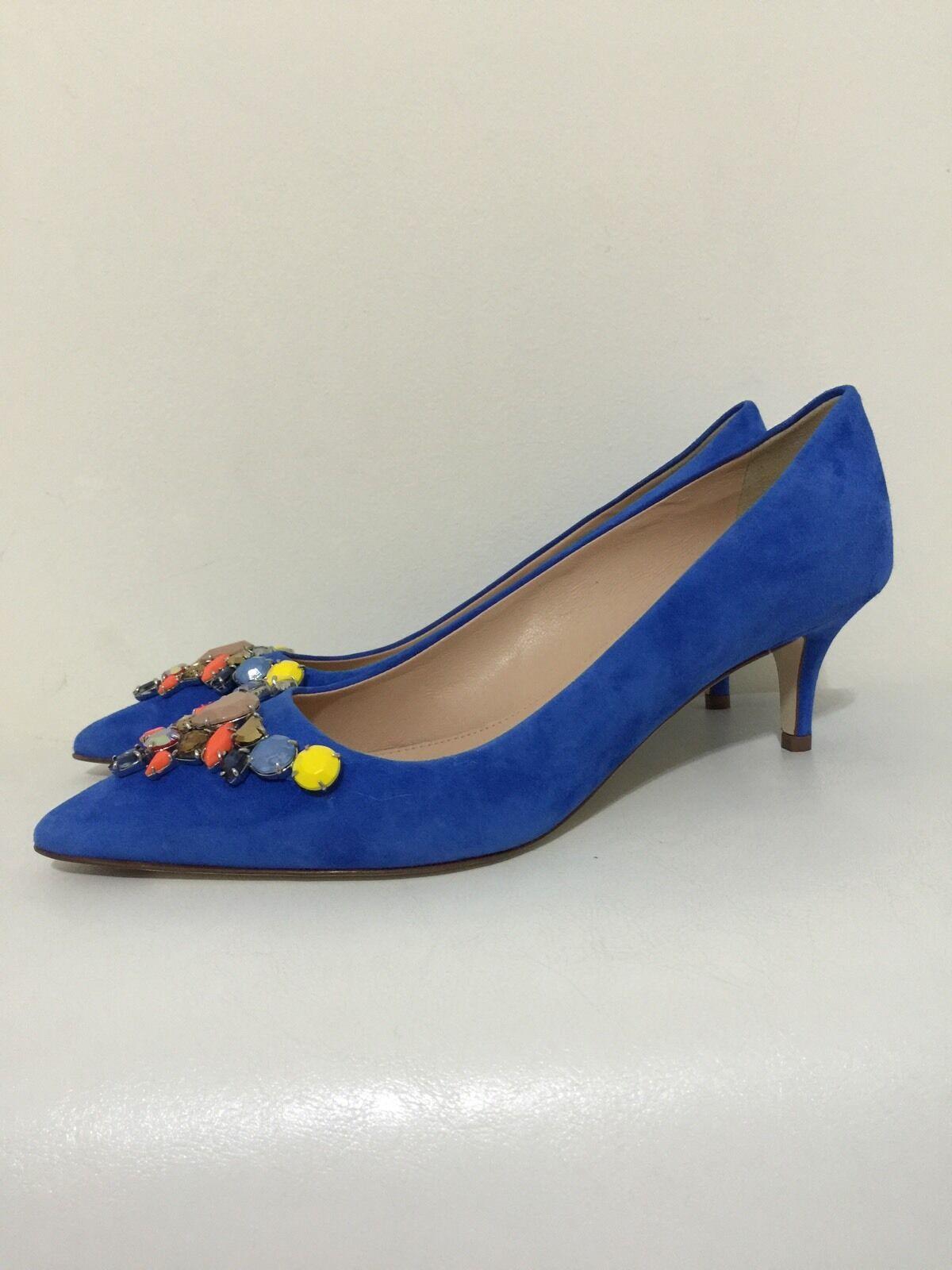 Colección 328 Nueva Colección  Dulci Gamuza Tacón Gatito Jcrew Enjoyado para mujer 7.5 Azul Italia cb5cec