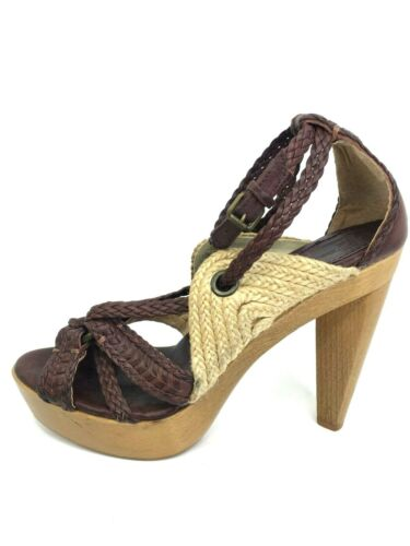 Frye 9 B Heels Leather Woven Platform Sandal Woode