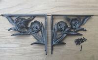 PAIR OF FLOWER  antique Vintage victorian style cast iron shelf brackets