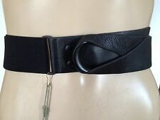 NEW MAX AZRIA by BCBG RUNWAY WIDE WAIST BELT 100% LEATHER BLACK WOMENS ONE SIZE