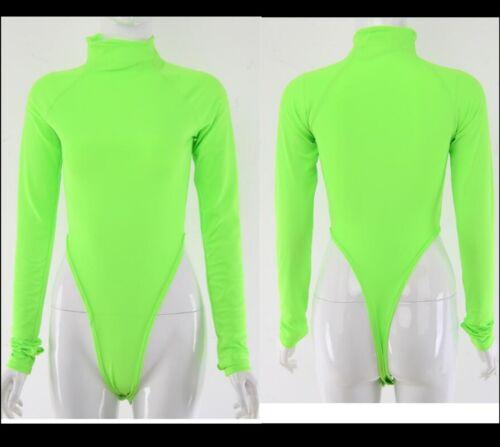 Women Neon Bodysuit Waist Cut Leotard Bodycon Casual Basic Polo Neck Top T-shirt