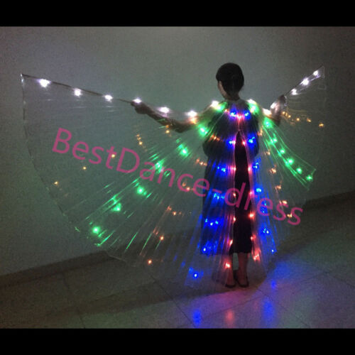 NEW  Performance LED Light Isis Wings Belly Dance Costumes Egyptian 360°/& Sticks