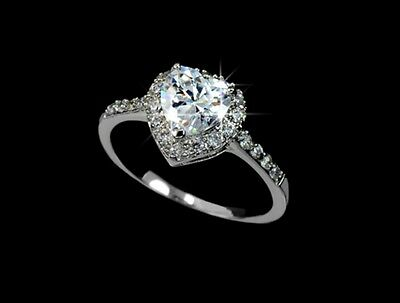 Motiviert Luxus Verlobungsring Herz Weißgold Plattiert (vergoldet) Damen Ring Silberfarbig Delikatessen Von Allen Geliebt