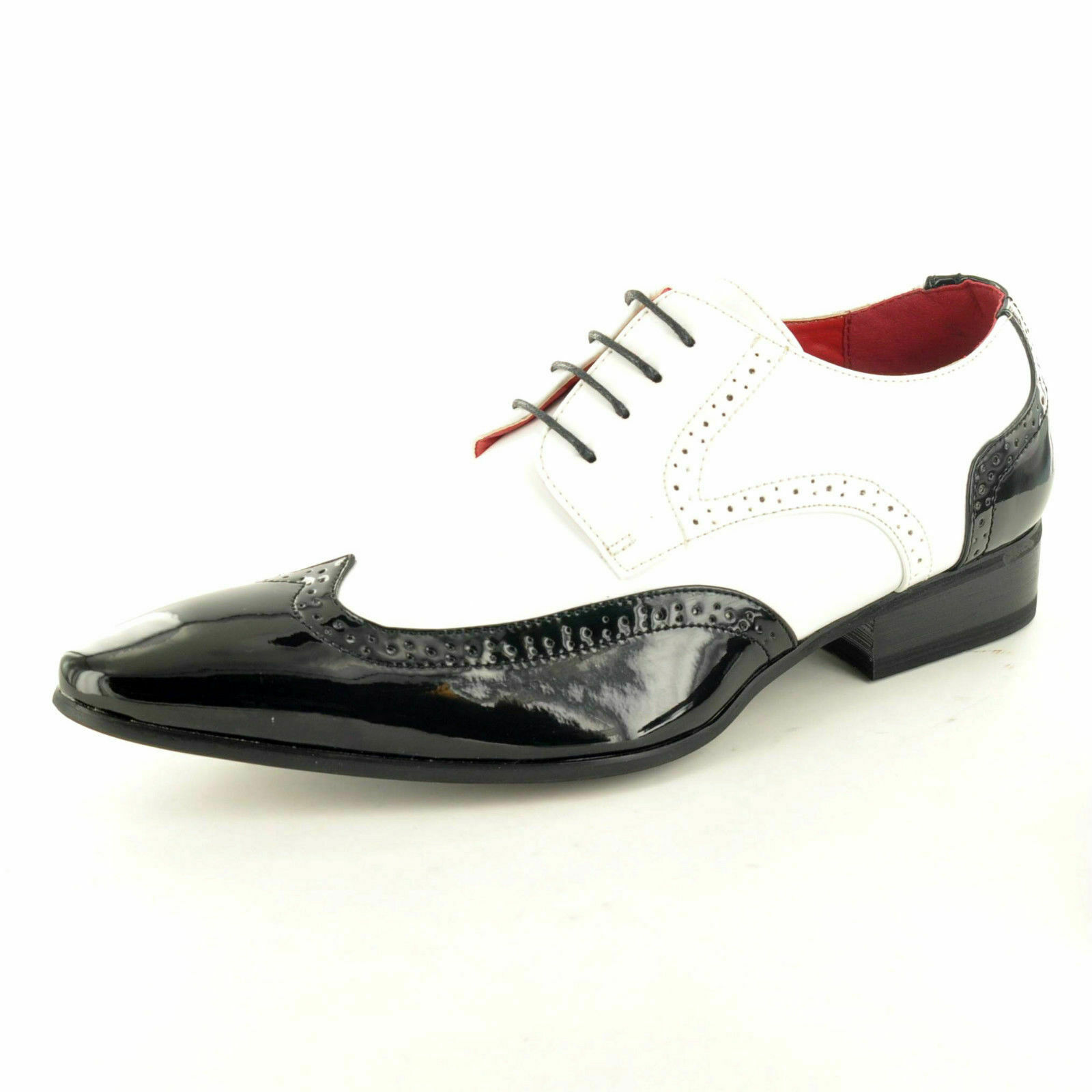 Mens Leather Lined Pointed Winkle Pickers Brogue Patent shoes Boots
