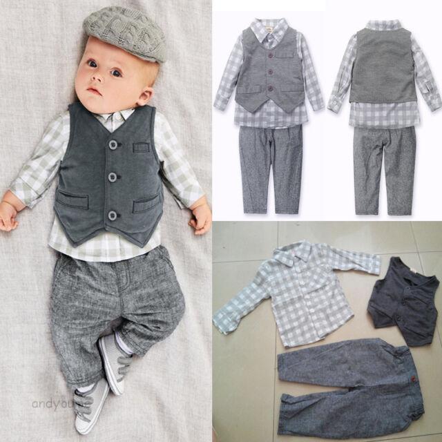 3pcs Newborn Baby Boy Gentleman Waistcoat+ Pants+ Shirt Outfit Clothes Sets Suit