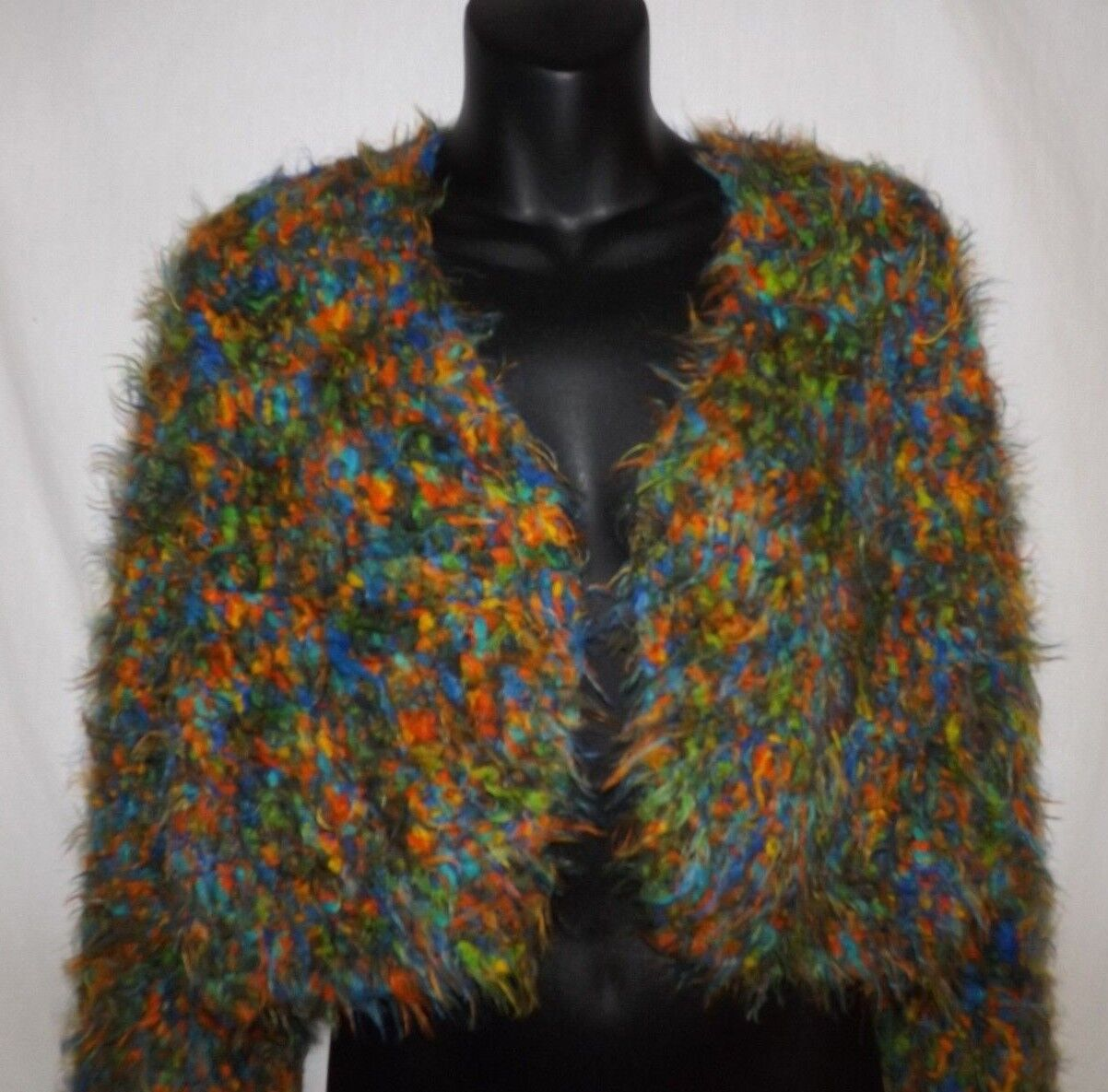 BOHO Hippie Hand Crocheted Cropped Long Sleeved Sweater Green Multicolor Yarn